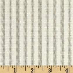 Vertical Ticking Stripe Ivory/Grey Fabric
