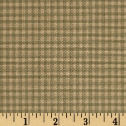 Small Check Ivory Tan Cream Fabric