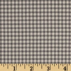 Small Check Ivory Cerulean Charcoal Fabric