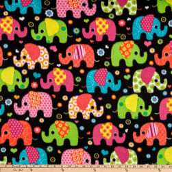 Winter Fleece Elephants Multi Fabric