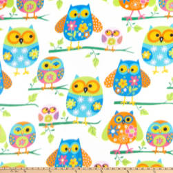 Winter Fleece Owls Multi Fabric