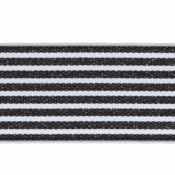 "1 1/2"" Grosgrain Stripes Black/White"