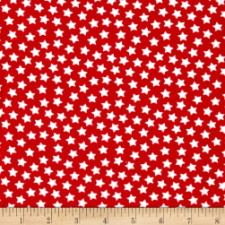 Flannel Stars Red Fabric