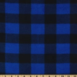 Fleece Buffalo Plaid Royal/Black Fabric