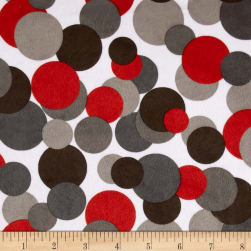 Minky Candy Circles White/ Grey/Black/Red Fabric