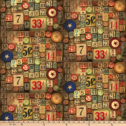 Tim Holtz Eclectic Elements Game Pieces Neutral Fabric