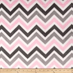 Shannon Minky Cuddle Zig Zag Blush/Silver/Charcoal Fabric