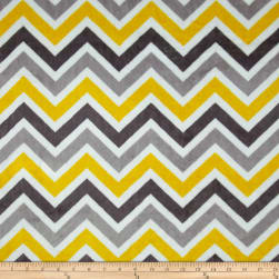 Shannon Minky Cuddle Zig Zag Lemon/Silver/Charcoal Fabric