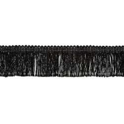 "2"" Metallic Chainette Fringe Trim Black"