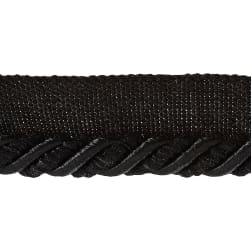 "Helena 3/8"" Decorative Lip Cord Trim Black"