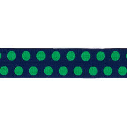 Dritz 1'' x 1 Yard Fold-Over Elastic Polka Dot Navy/Green