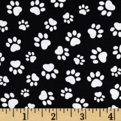 Timeless Treasures Paw Print Black/White Fabric