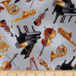 Kanvas Concerto Tossed Instruments Grey Fabric