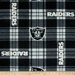 NFL Oakland Raiders Plaid Fleece Black/White Fabric