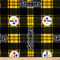 NFL Pittsburgh Steelers Plaid Fleece Black/Yellow Fabric