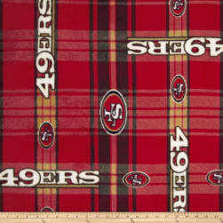 NFL San Francisco 49er's Plaid Fleece Red/Yellow Fabric