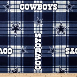 NFL Dallas Cowboys Plaid Fleece Blue/White Fabric