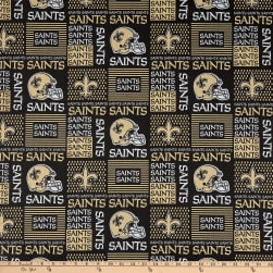 NFL Cotton Broadcloth New Orleans Saints Patchwork Black