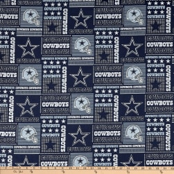NFL Cotton Broadcloth Dallas Cowboys Patchwork Blue/White Fabric