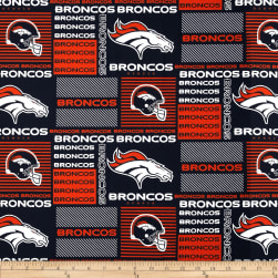 NFL Cotton Broadcloth Denver Broncos Patchwork Blue/Orange Fabric
