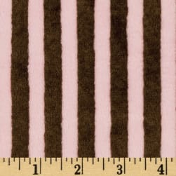 Shannon Minky Striped Cuddle Brown/Pink