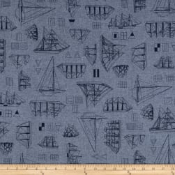 Kaufman Nautique Chambray Prints Indigo Fabric