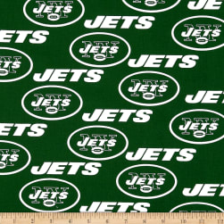 NFL Cotton Broadcloth NY Jets Green/White Fabric