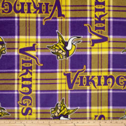 NFL Fleece Minnesota Vikings Plaid Fabric