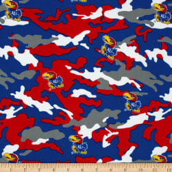 Univeristy of Kansas Cotton Camouflage Red/Royal Fabric
