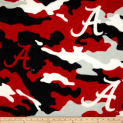 University of Alabama Fleece Camo Crimson Fabric