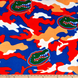 University of Florida Fleece Camo Orange/Blue Fabric