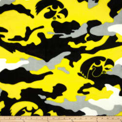 University of Iowa Fleece Camo Yellow Fabric