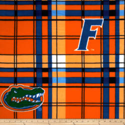 Collegiate Fleece University of Florida Plaid Orange/Blue Fabric