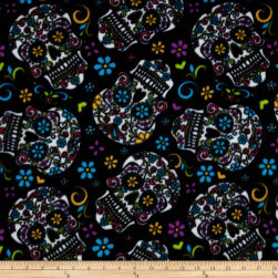 Celebration Fleece Folkloric Skulls Black Fabric