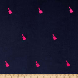 Embroidered 21 Wale Corduroy Guitar Navy/Pink