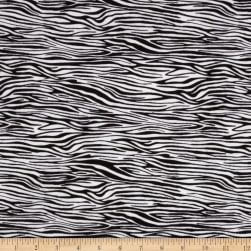 Comfy Flannel Zebra Print White/Black Fabric