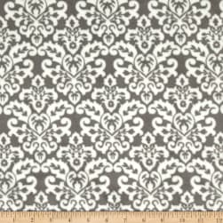 Shannon Minky Cuddle Damask Charcoal/Snow Fabric