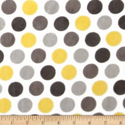 Shannon Minky Cuddle Mod Dot Lemon/Silver Fabric