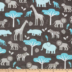 Shannon Minky Cuddle Jungle Tales Topaz Fabric