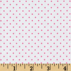 Riley Blake Swiss & Dots White/Hot Pink Fabric