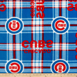 MLB Fleece Chicago Cubs Plaid Red/Blue Fabric