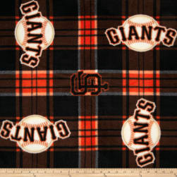 MLB Fleece San Francisco Giants Plaid Black/Orange Fabric