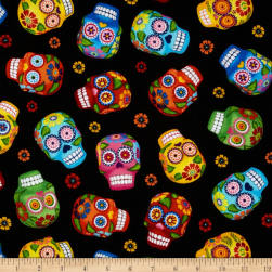 Timeless Treasures Cantina Skulls Black Fabric