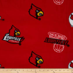 Collegiate Fleece University of Louisville Red Fabric