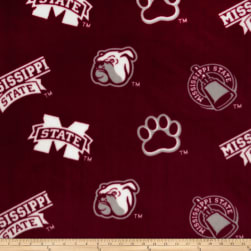 Collegiate Fleece Mississippi State Burgundy Fabric