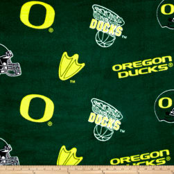 Collegiate Fleece University of Oregon Green Fabric