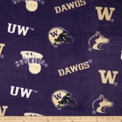 Collegiate Fleece University of Washington Purple Fabric