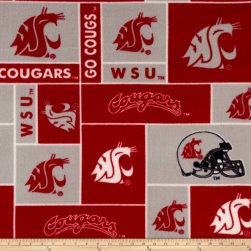 Collegiate Fleece Washington State University Crimson Fabric