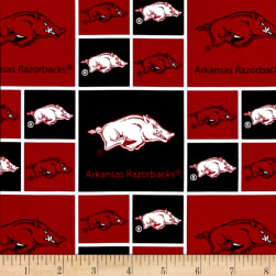 Collegiate Cotton Broadcloth University of Arkansas Blocks Fabric