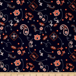 Collegiate Cotton Broadcloth Auburn Paisley Fabric
